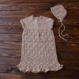 Elegant Baby Girl Dress with lace skirt diamond-shaped pattern