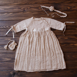 Hand Knitted Infant's Dress Seamless Baby Dress