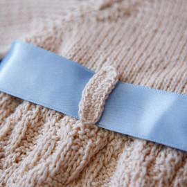 Hand Knitted Elegant Baby Boy Dress Set Matching Drawstring Bag