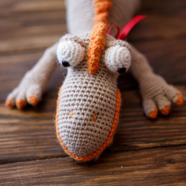 Beige-Orange Toned Bipedal Dinosaur Rex Baby First Toy
