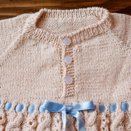 Hand Knitted Baby Boy Gown 8 monthsHeight 69 cm