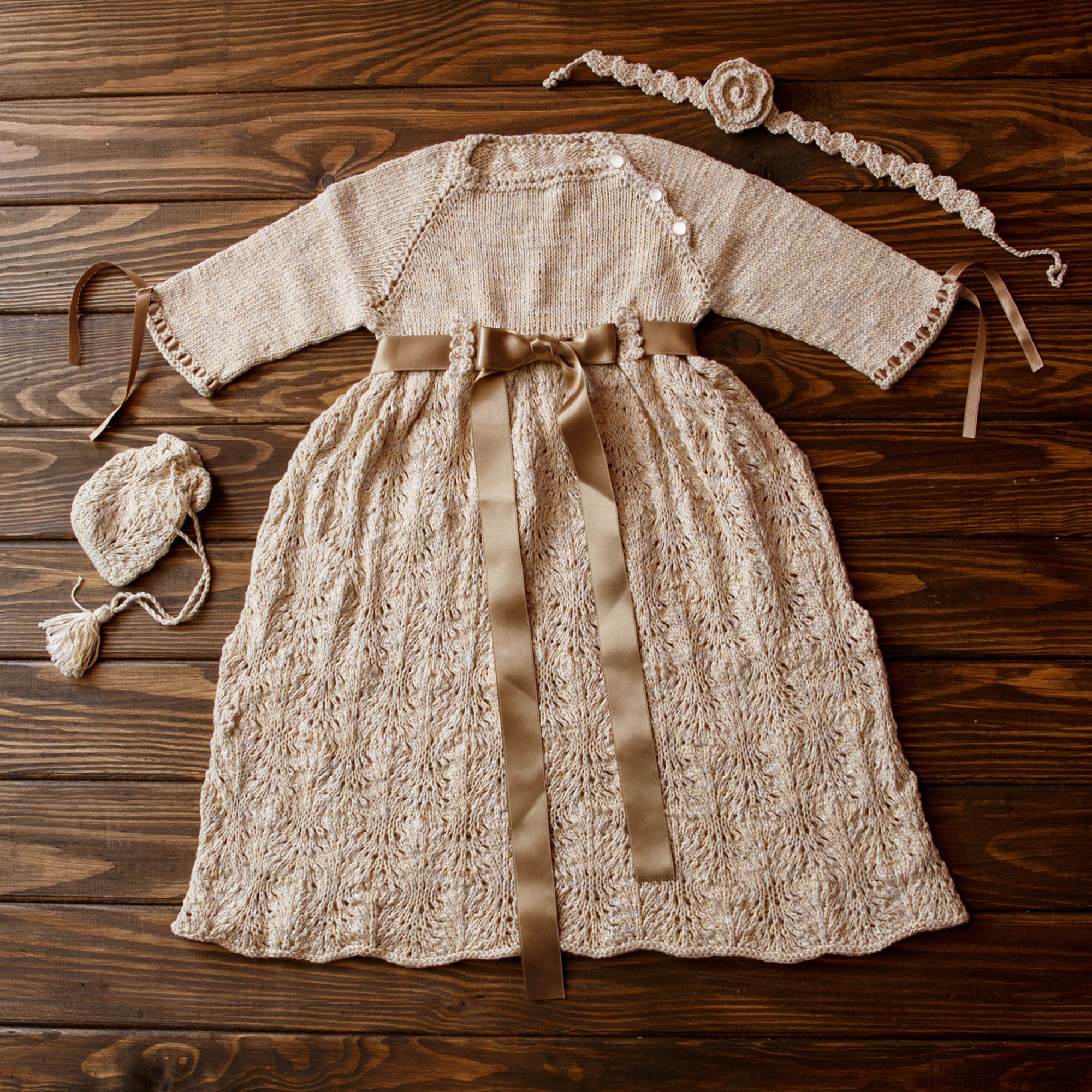 Hand Knitted Baby Girl Christening Dress, 6-9 months, 63-74cm
